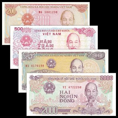 Vietnam - sada 4 bankovek 200, 500, 1000 a 2000 dong UNC