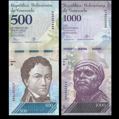 Venezuela - sada 2 bankovek 500 a 1000 bolivares 2016/2017 UNC