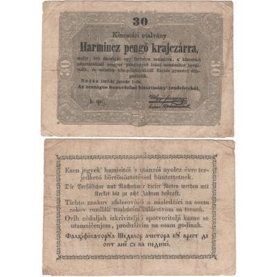 Maďarsko - bankovka 30 PENGÖ KRAJCZÁR 1849