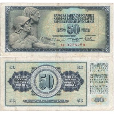 Jugoslávie - bankovka 50 dinara 1978