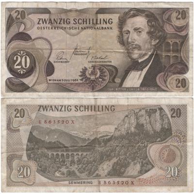 Rakousko - bankovka 20 Schilling 1967
