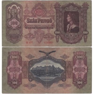 Maďarsko - bankovka 100 pengö 1930, platná na našem území