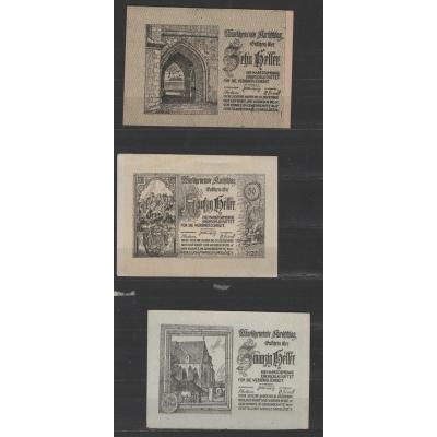 Rakousko - sada nouzových bankovek Kirchschlag 1920