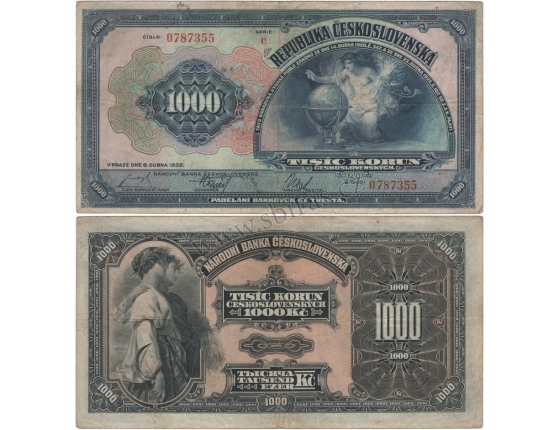 1000 korun 1932, série C, neperforovaná