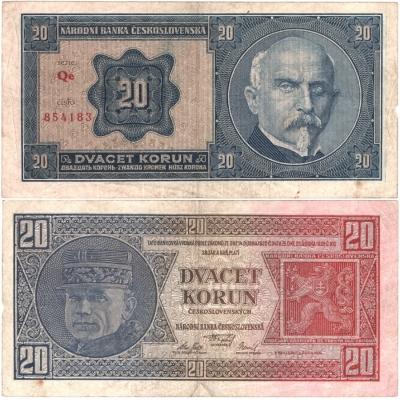 20 korun 1926 neperforovaná, série Qe