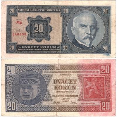 20 korun 1926 neperforovaná, série Mg