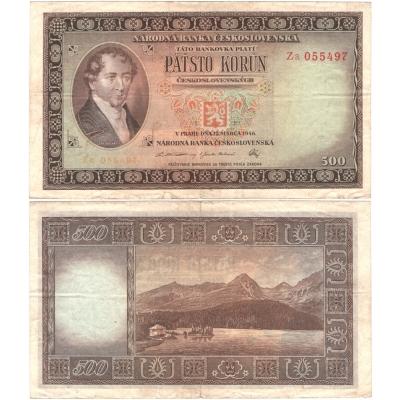 500 korun 1946, neperforovaná, dvojpísmenná a poslední série ZA