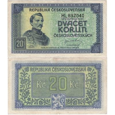 20 korun 1945, neperforovaná