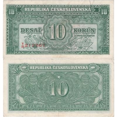 """10 korun 1945, neperforovaná, vertikální série, """"Londýnská emise"""""""