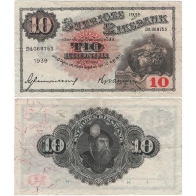 Švédsko - bankovka 10 kronor 1939