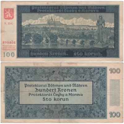 100 korun 1940, druhé vydání, neperforovaná