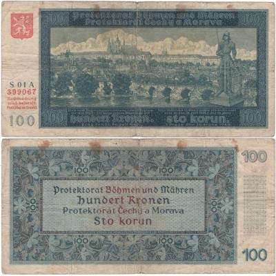 100 korun 1940, první vydání, neperforovaná