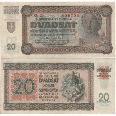 Slovenský štát - bankovka 20 korun 1942, neperforovaná, série Xk