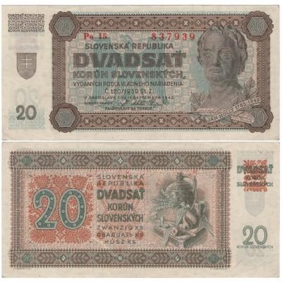 Slovenský štát - bankovka 20 korun 1942, neperforovaná, série Po