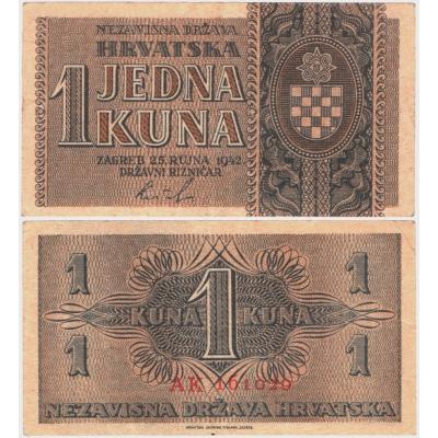 Jugoslávie - bankovka 1 kuna 1942
