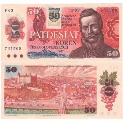 Slovensko - bankovka 50 korun 1987/1993, slovenský kolek UNC