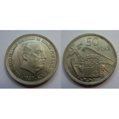 Španělsko - 50 pesetas 1957, generál Franco