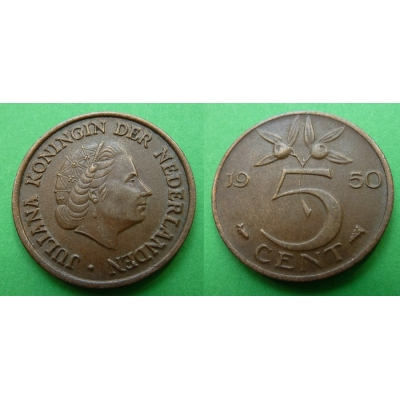 Holandsko - 5 cents 1950