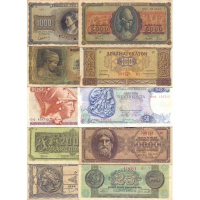 Řecko - sada 10 různých originálních bankovek