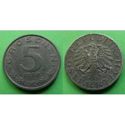 Rakousko - 5 groschen 1968