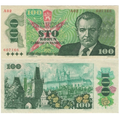 100 korun 1989, nízká série A02