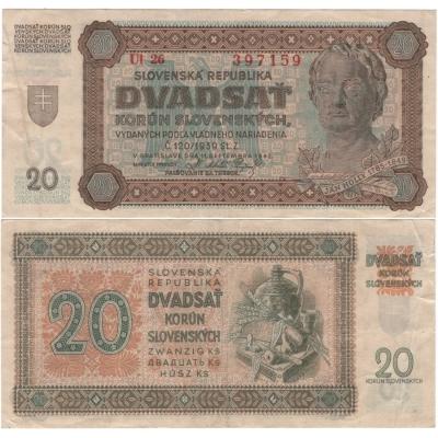 Slovenský štát - bankovka 20 korun 1942, neperforovaná, série Ul