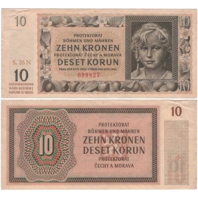 Protektorat Böhmen und Mähren - Anmerkung 10 Kronen 1942