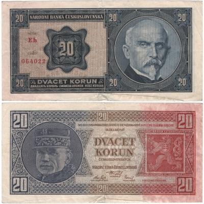 20 korun 1926 neperforovaná, série Eh