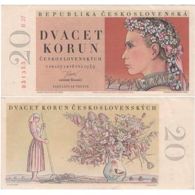 20 korun 1949, neperforovaná, série B