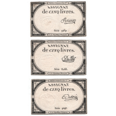 Francie - 3x bankovka 5 Livres 1793, různé podpisy