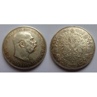 František Josef I. - mince 5 korun 1909, typ Schwartz