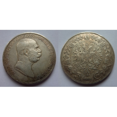 František Josef I. - mince 5 korun 1909, typ Marschall