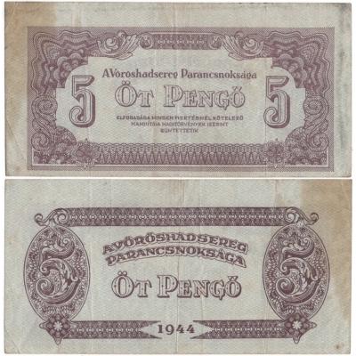 Maďarsko - bankovka rudé armády 5 pengo 1944