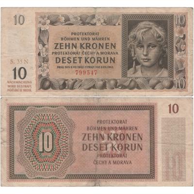 10 korun 1942, neperforovaná