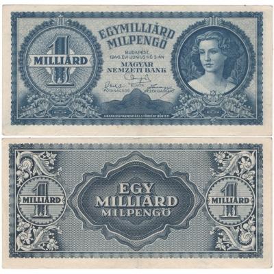 Maďarsko - bankovka 1 miliarda pengo 1946