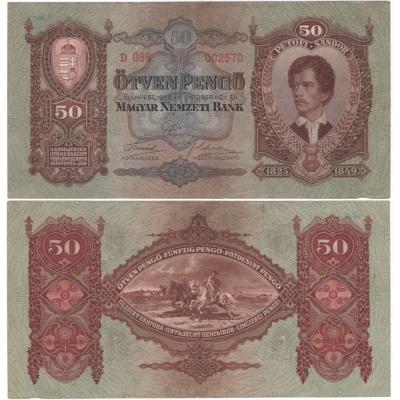 Maďarsko - bankovka 50 Pengö 1932, platná na našem území