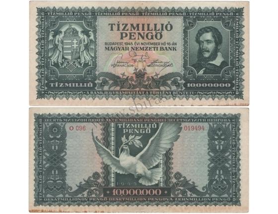 Maďarsko - bankovka 10 milionů pengo 1945