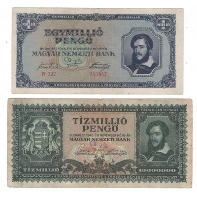 Maďarsko - 2x bankovka 1 milion, 10 milion pengo 1945