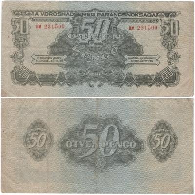 Maďarsko - bankovka rudé armády 50 pengo 1944