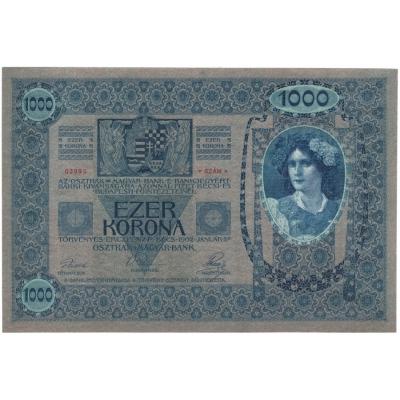 1000 korun 1902, bez přetisku, růžový podtisk UNC