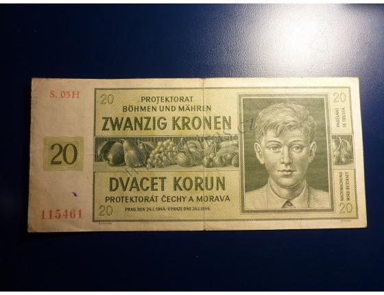 20 korun 1944 S. 03H neperforováno