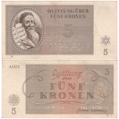 Terezínské gheto - bankovka 5 korun 1943