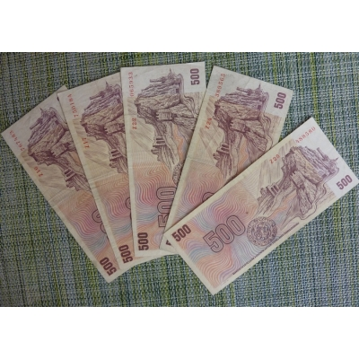 Konvolut bankovek - 5 x 500 korun 1973, série Z