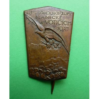 Československo - odznak Slet sokolské župy Blanické ve Voticích 1927