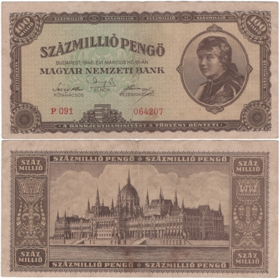 Maďarsko - bankovka 100 milion Pengo 1946