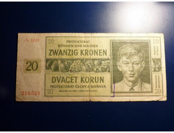 20 korun 1944 S. 12H neperforováno