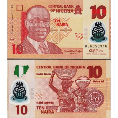 Nigérie - bankovka 10 naira 2017, polymerová bankovka UNC