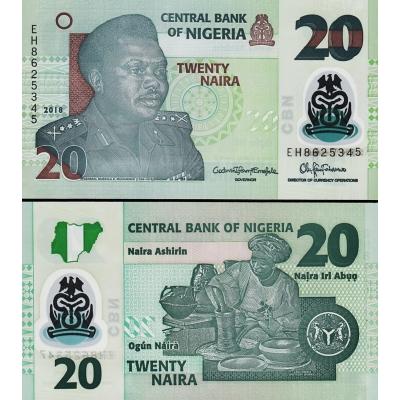 Nigérie - bankovka 20 naira 2018, polymerová bankovka UNC