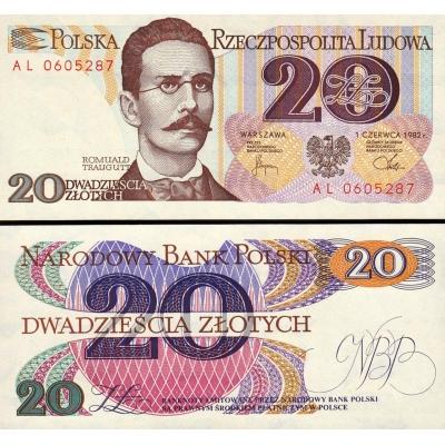 Polsko - bankovka 20 zlotych 1982 UNC