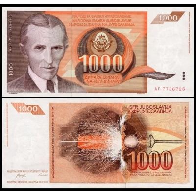 Jugoslávie - bankovka 1000 dinara 1990 UNC